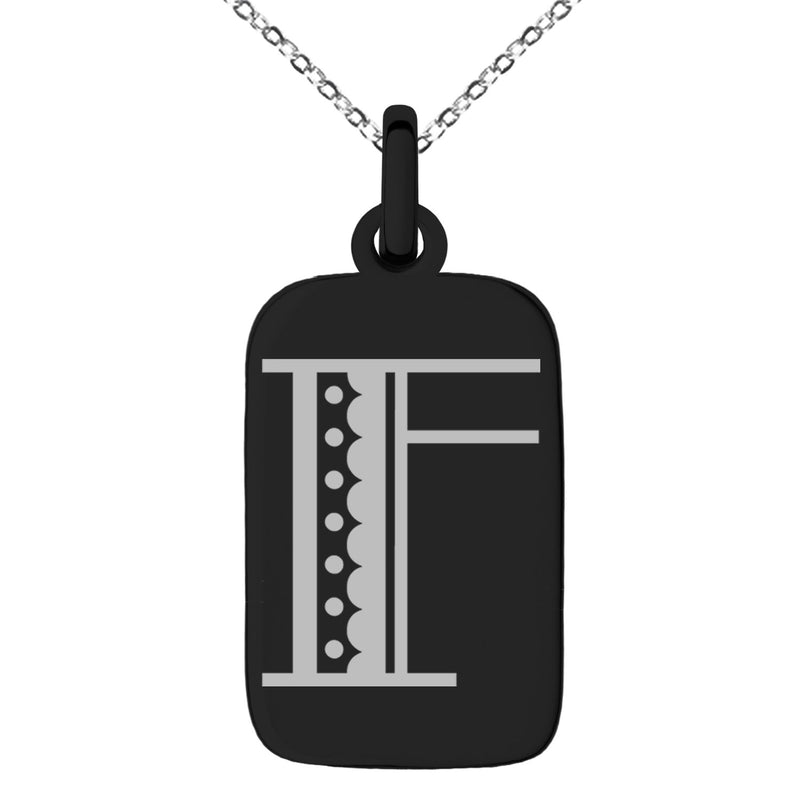 Stainless Steel Letter F Initial Metro Retro Monogram Engraved Small Rectangle Dog Tag Charm Pendant Necklace