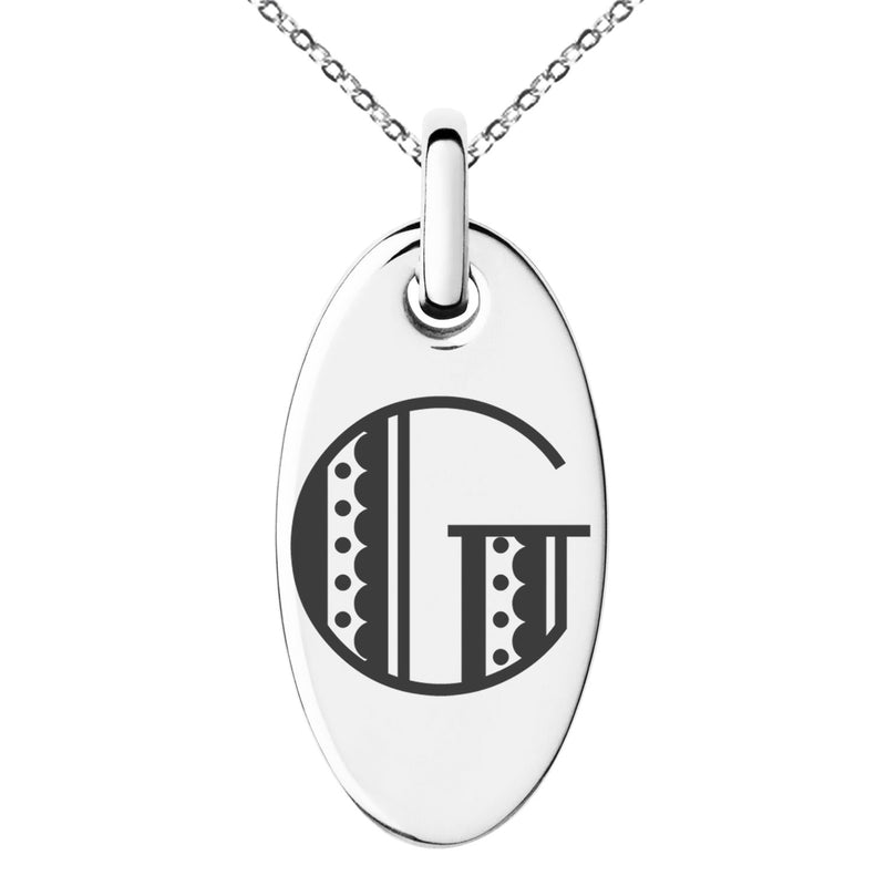 Stainless Steel Letter G Initial Metro Retro Monogram Engraved Small Oval Charm Pendant Necklace