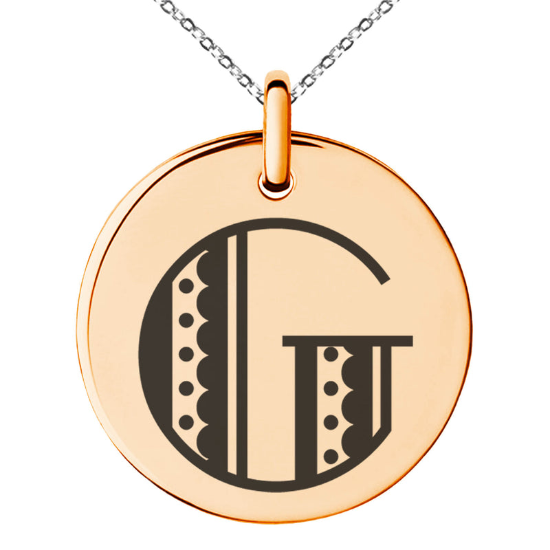 Stainless Steel Letter G Initial Metro Retro Monogram Engraved Small Medallion Circle Charm Pendant Necklace
