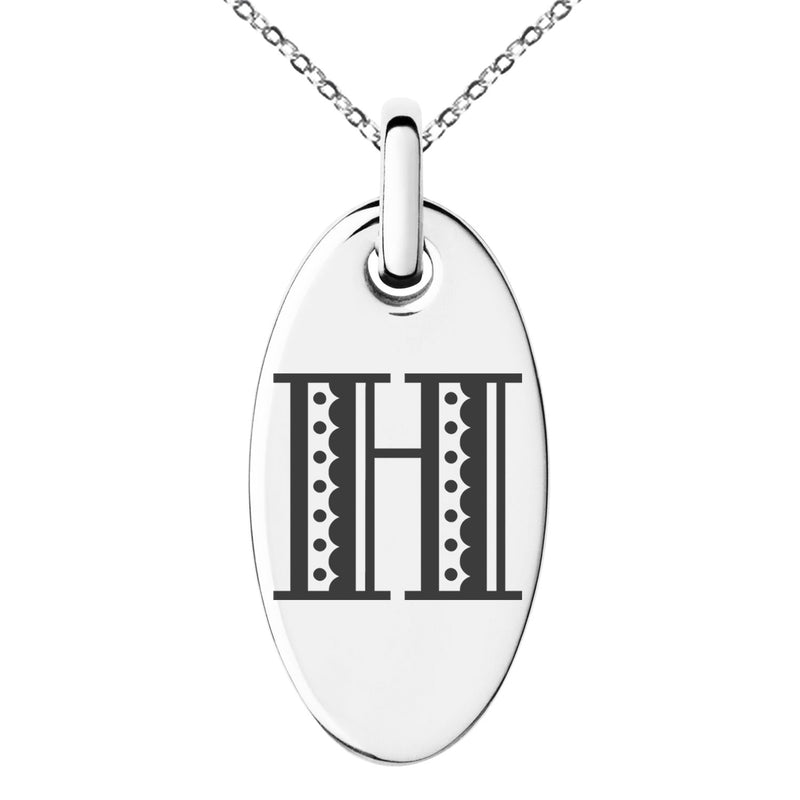 Stainless Steel Letter H Initial Metro Retro Monogram Engraved Small Oval Charm Pendant Necklace