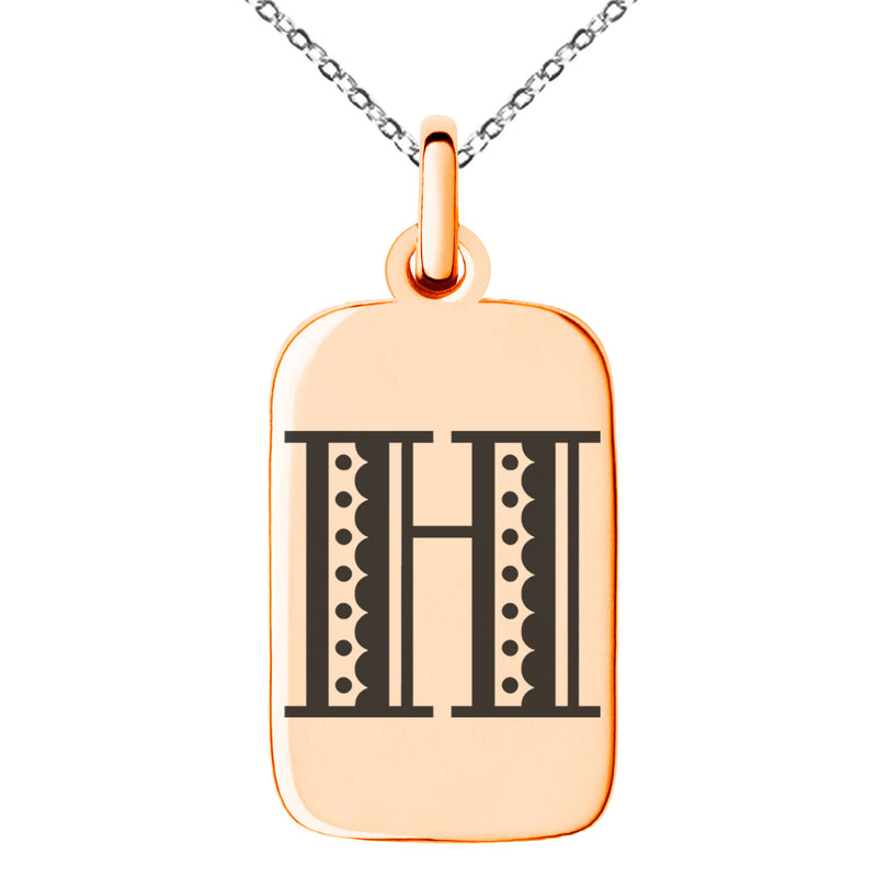 Stainless Steel Letter H Initial Metro Retro Monogram Engraved Small Rectangle Dog Tag Charm Pendant Necklace