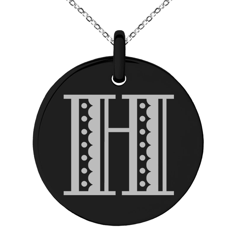 Stainless Steel Letter H Initial Metro Retro Monogram Engraved Small Medallion Circle Charm Pendant Necklace