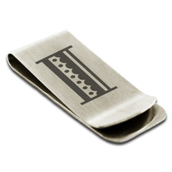 Stainless Steel Letter I Alphabet Initial Metro Retro Monogram Engraved Money Clip Credit Card Holder - Tioneer