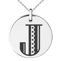 Stainless Steel Letter J Initial Metro Retro Monogram Engraved Small Medallion Circle Charm Pendant Necklace