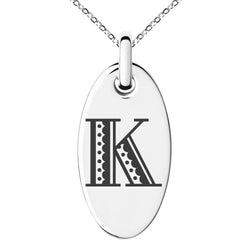 Stainless Steel Letter K Initial Metro Retro Monogram Engraved Small Oval Charm Pendant Necklace