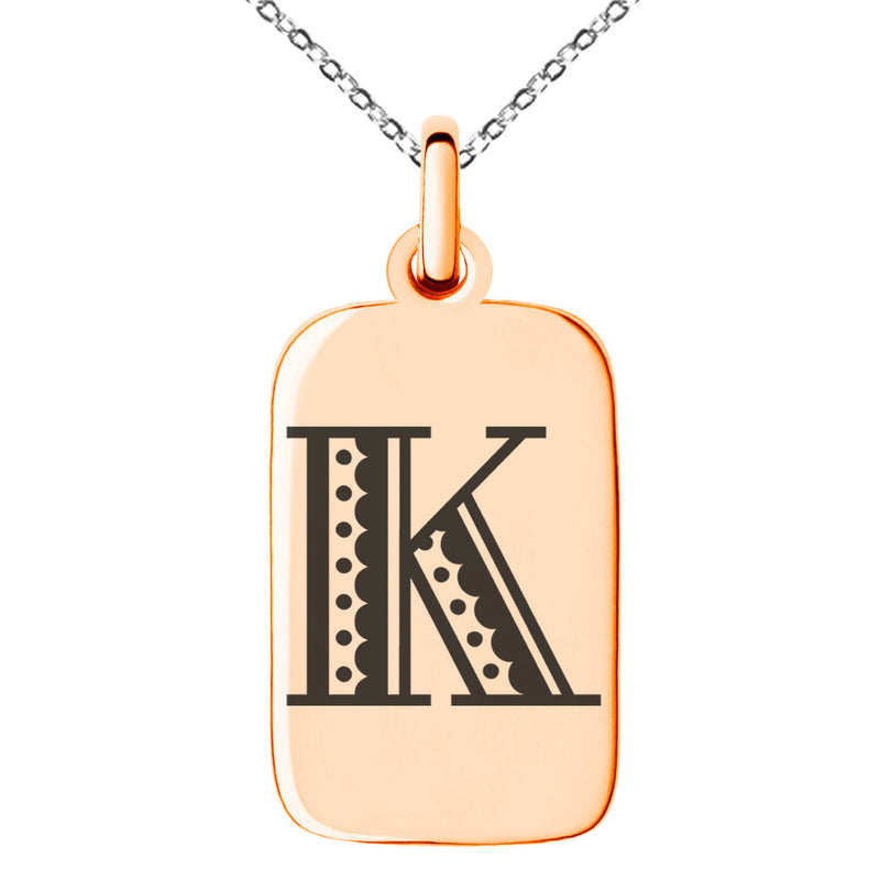 Stainless Steel Letter K Initial Metro Retro Monogram Engraved Small Rectangle Dog Tag Charm Pendant Necklace