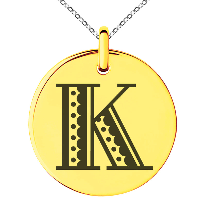 Stainless Steel Letter K Initial Metro Retro Monogram Engraved Small Medallion Circle Charm Pendant Necklace