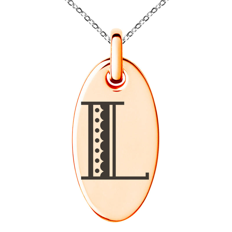Stainless Steel Letter L Initial Metro Retro Monogram Engraved Small Oval Charm Pendant Necklace
