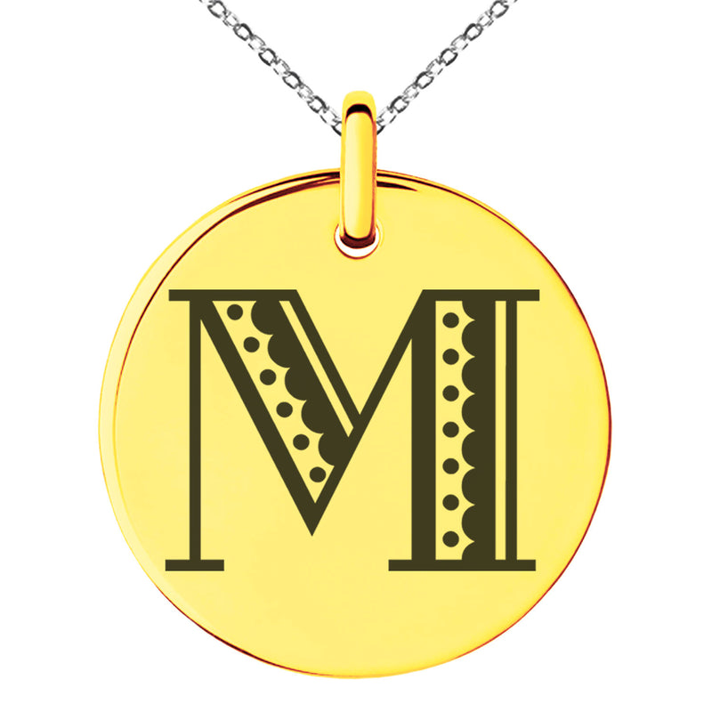 Stainless Steel Letter M Initial Metro Retro Monogram Engraved Small Medallion Circle Charm Pendant Necklace