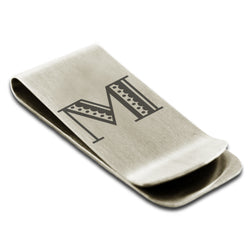 Stainless Steel Letter M Alphabet Initial Metro Retro Monogram Engraved Money Clip Credit Card Holder - Tioneer