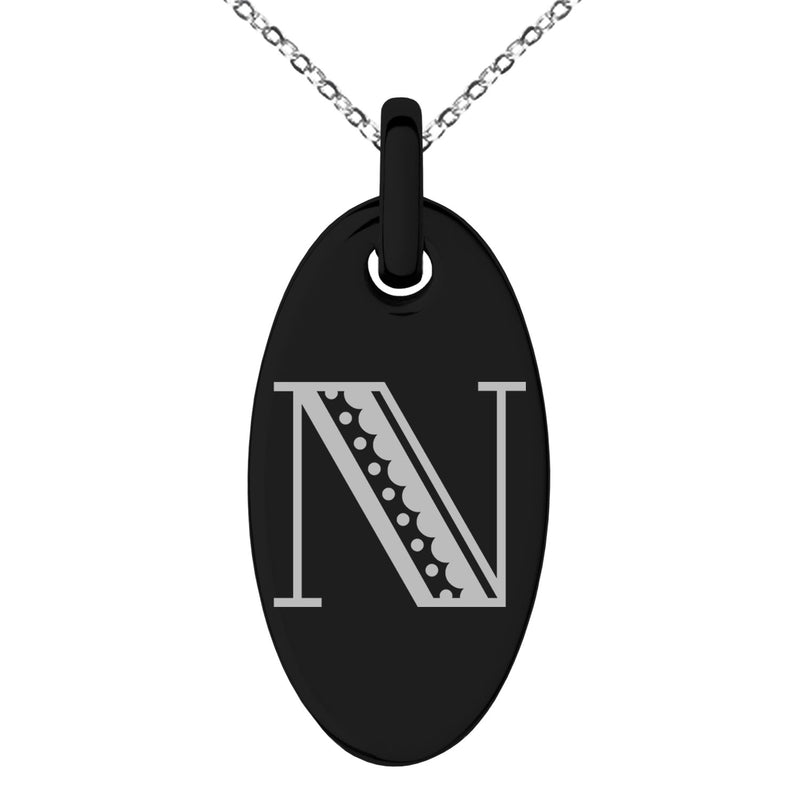 Stainless Steel Letter N Initial Metro Retro Monogram Engraved Small Oval Charm Pendant Necklace