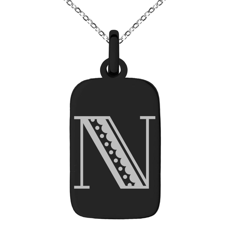 Stainless Steel Letter N Initial Metro Retro Monogram Engraved Small Rectangle Dog Tag Charm Pendant Necklace