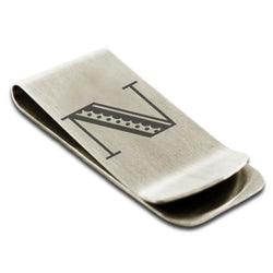 Stainless Steel Letter N Alphabet Initial Metro Retro Monogram Engraved Money Clip Credit Card Holder - Tioneer
