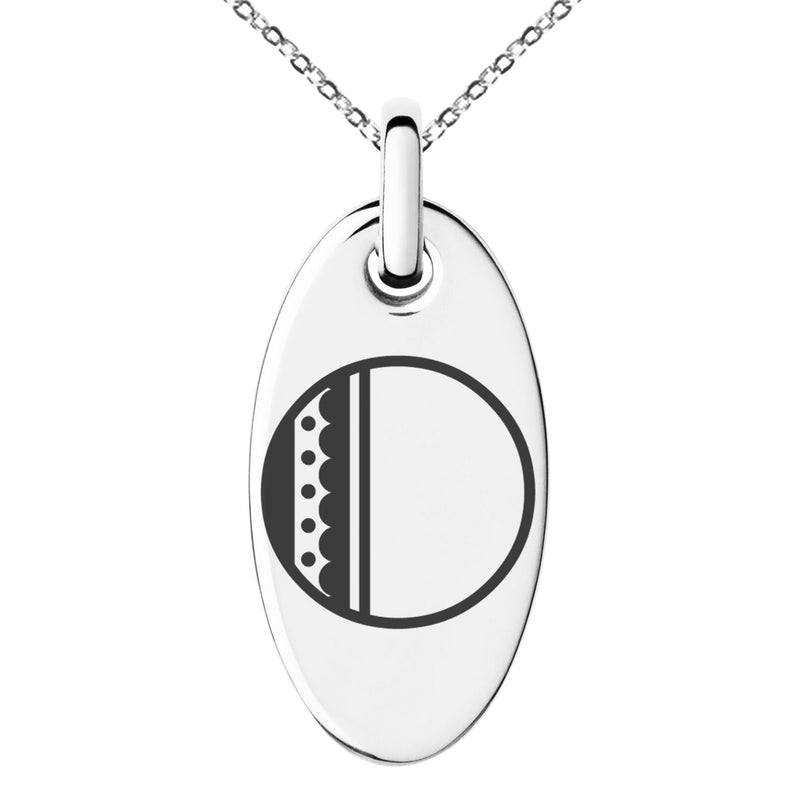 Stainless Steel Letter O Initial Metro Retro Monogram Engraved Small Oval Charm Pendant Necklace
