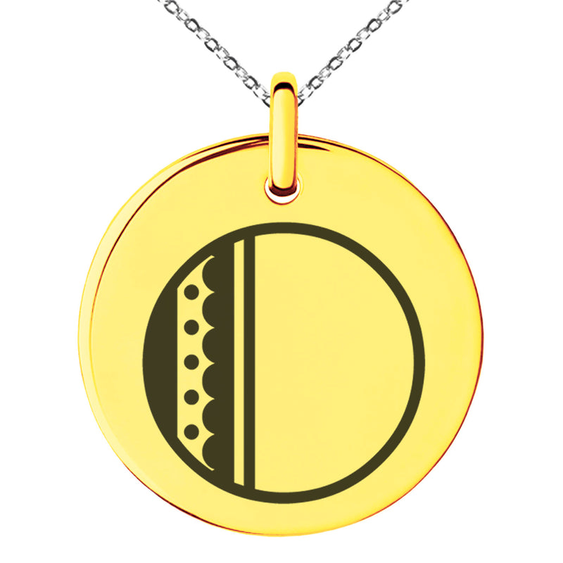 Stainless Steel Letter O Initial Metro Retro Monogram Engraved Small Medallion Circle Charm Pendant Necklace