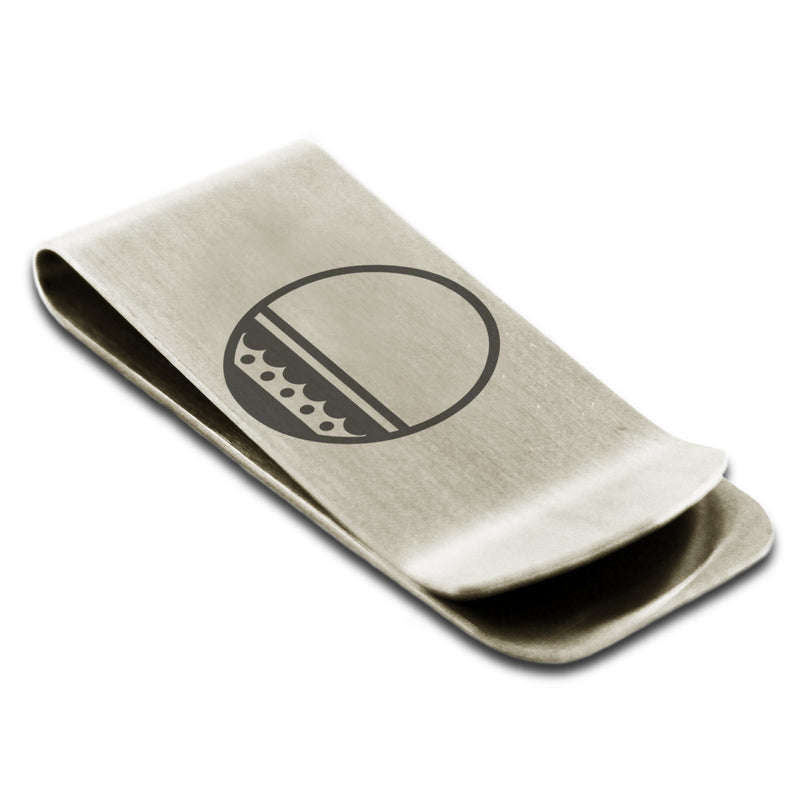 Stainless Steel Letter O Alphabet Initial Metro Retro Monogram Engraved Money Clip Credit Card Holder - Tioneer