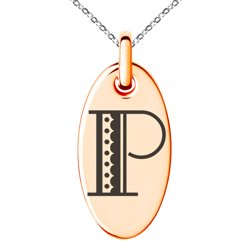 Stainless Steel Letter P Initial Metro Retro Monogram Engraved Small Oval Charm Pendant Necklace