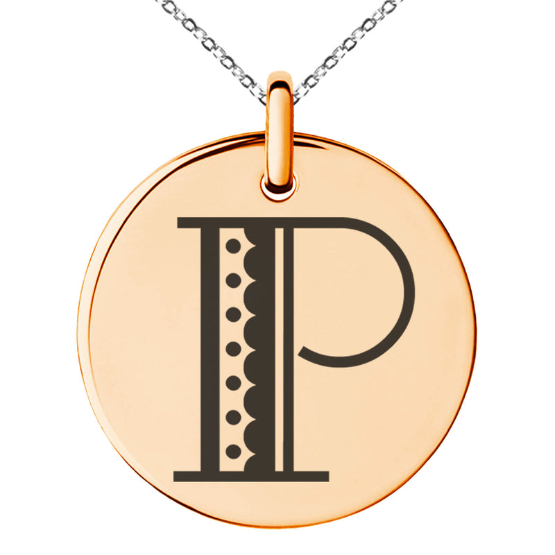 Stainless Steel Letter P Initial Metro Retro Monogram Engraved Small Medallion Circle Charm Pendant Necklace