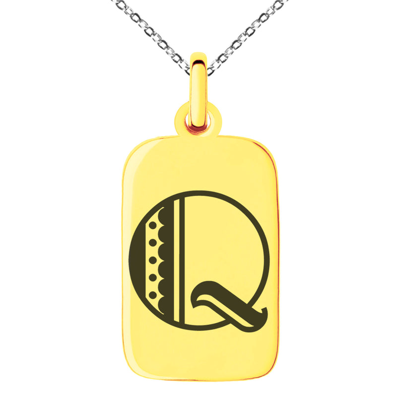 Stainless Steel Letter Q Initial Metro Retro Monogram Engraved Small Rectangle Dog Tag Charm Pendant Necklace