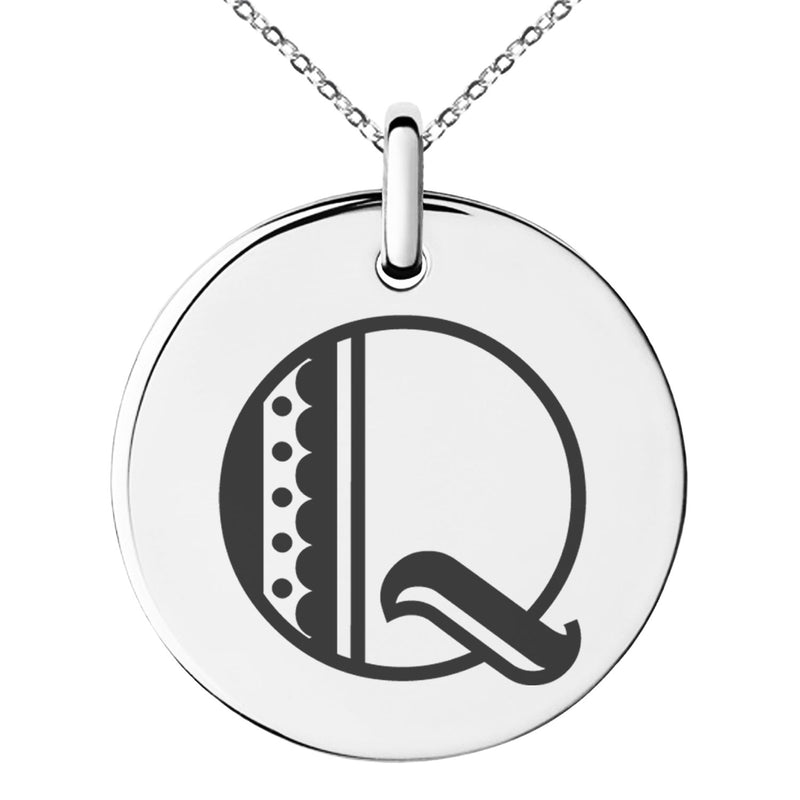 Stainless Steel Letter Q Initial Metro Retro Monogram Engraved Small Medallion Circle Charm Pendant Necklace