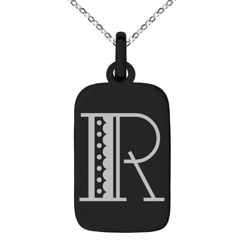 Stainless Steel Letter R Initial Metro Retro Monogram Engraved Small Rectangle Dog Tag Charm Pendant Necklace