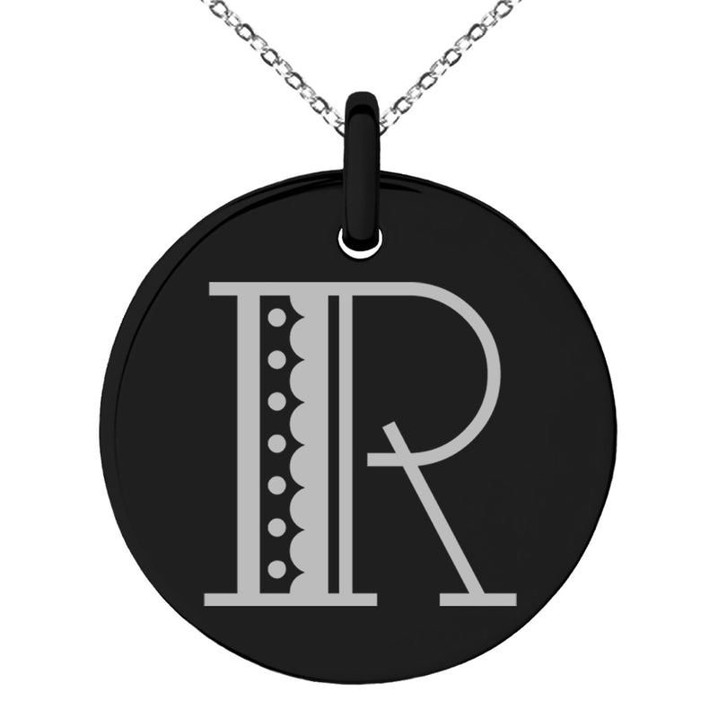 Stainless Steel Letter R Initial Metro Retro Monogram Engraved Small Medallion Circle Charm Pendant Necklace