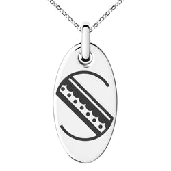 Stainless Steel Letter S Initial Metro Retro Monogram Engraved Small Oval Charm Pendant Necklace