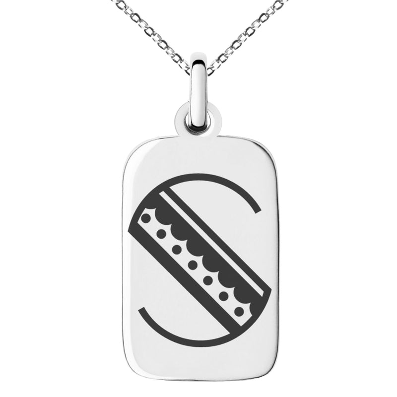 Stainless Steel Letter S Initial Metro Retro Monogram Engraved Small Rectangle Dog Tag Charm Pendant Necklace