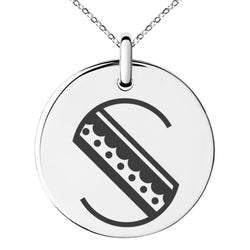 Stainless Steel Letter S Initial Metro Retro Monogram Engraved Small Medallion Circle Charm Pendant Necklace