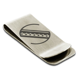 Stainless Steel Letter S Alphabet Initial Metro Retro Monogram Engraved Money Clip Credit Card Holder - Tioneer