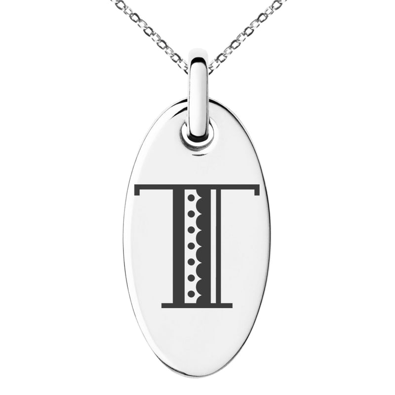 Stainless Steel Letter T Initial Metro Retro Monogram Engraved Small Oval Charm Pendant Necklace