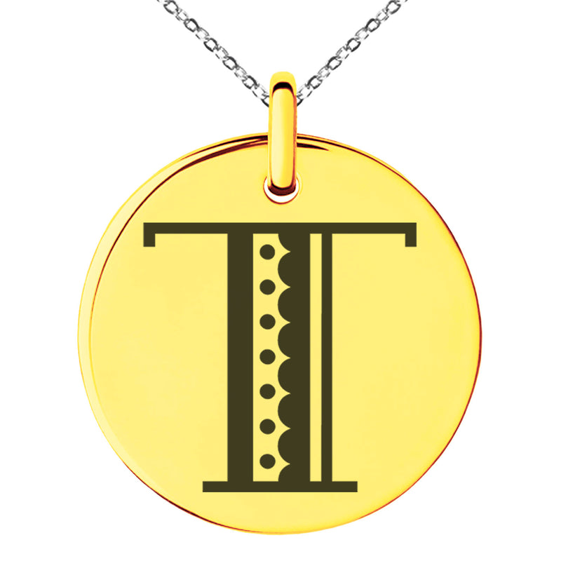Stainless Steel Letter T Initial Metro Retro Monogram Engraved Small Medallion Circle Charm Pendant Necklace