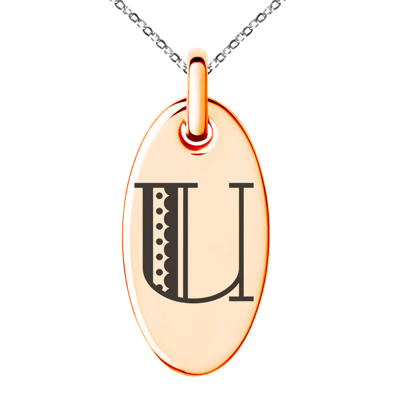Stainless Steel Letter U Initial Metro Retro Monogram Engraved Small Oval Charm Pendant Necklace