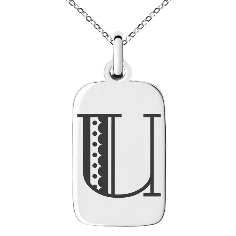 Stainless Steel Letter U Initial Metro Retro Monogram Engraved Small Rectangle Dog Tag Charm Pendant Necklace