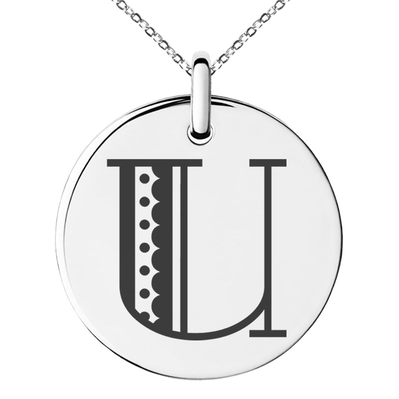 Stainless Steel Letter U Initial Metro Retro Monogram Engraved Small Medallion Circle Charm Pendant Necklace