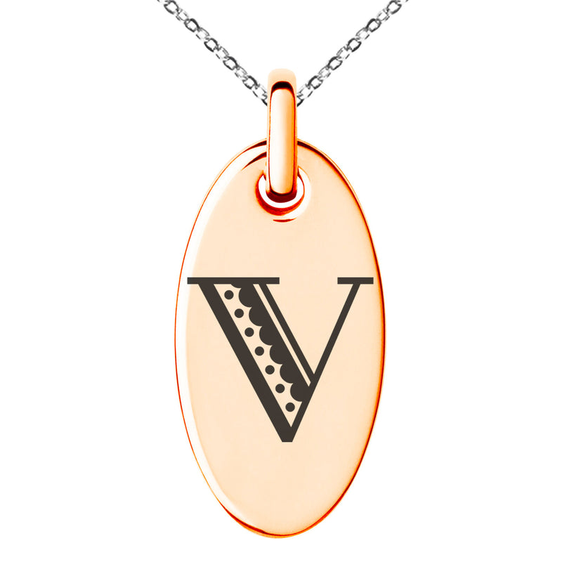 Stainless Steel Letter V Initial Metro Retro Monogram Engraved Small Oval Charm Pendant Necklace
