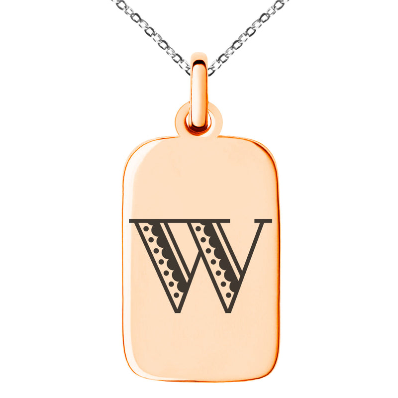 Stainless Steel Letter W Initial Metro Retro Monogram Engraved Small Rectangle Dog Tag Charm Pendant Necklace