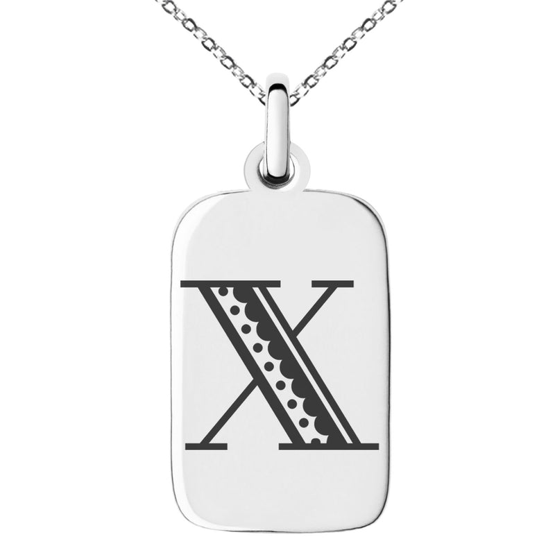 Stainless Steel Letter X Initial Metro Retro Monogram Engraved Small Rectangle Dog Tag Charm Pendant Necklace