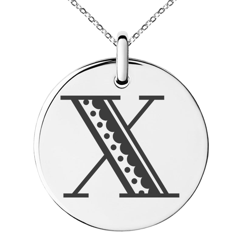 Stainless Steel Letter X Initial Metro Retro Monogram Engraved Small Medallion Circle Charm Pendant Necklace