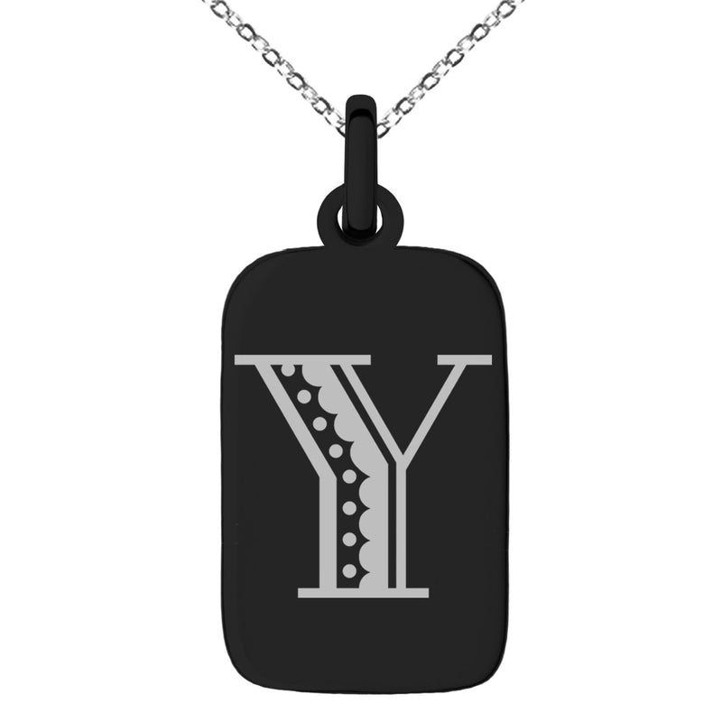 Stainless Steel Letter Y Initial Metro Retro Monogram Engraved Small Rectangle Dog Tag Charm Pendant Necklace - Tioneer