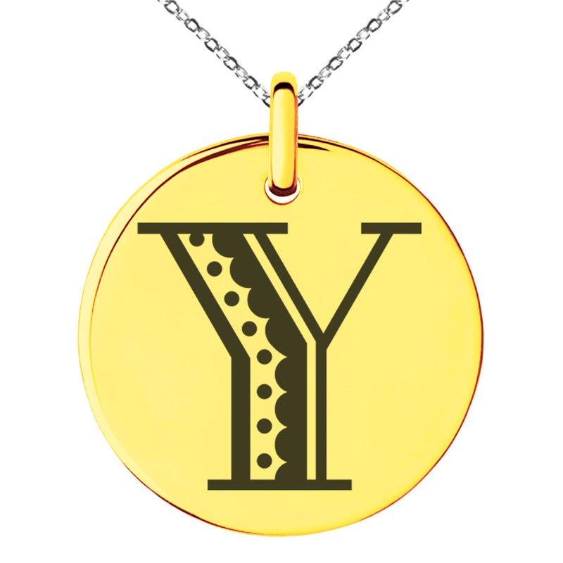 Stainless Steel Letter Y Initial Metro Retro Monogram Engraved Small Medallion Circle Charm Pendant Necklace - Tioneer