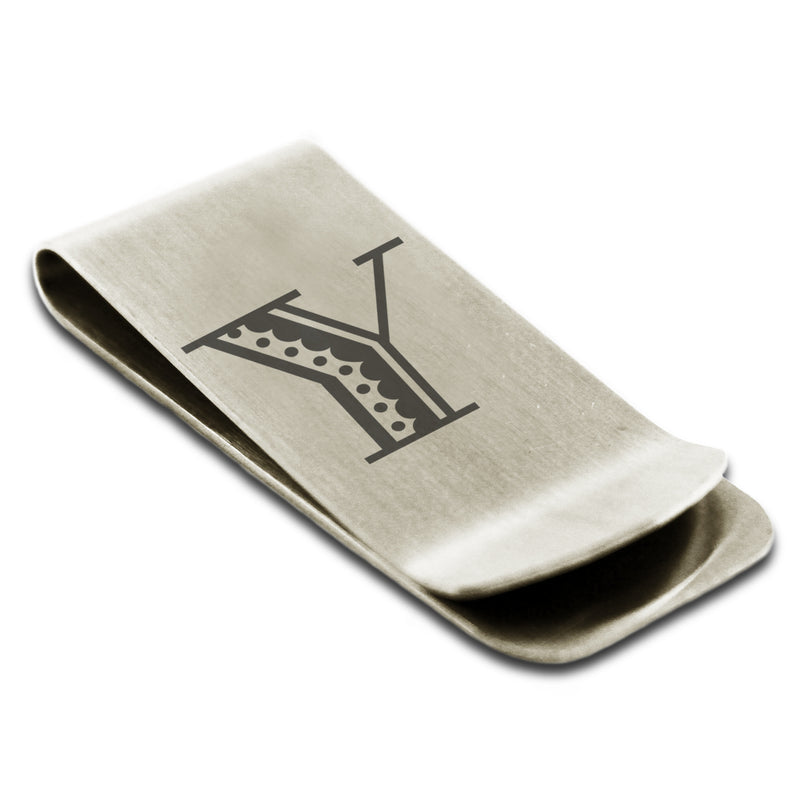 Stainless Steel Letter Y Alphabet Initial Metro Retro Monogram Engraved Money Clip Credit Card Holder - Tioneer