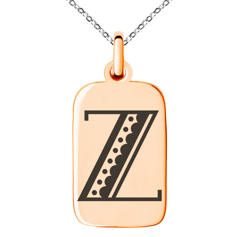 Stainless Steel Letter Z Initial Metro Retro Monogram Engraved Small Rectangle Dog Tag Charm Pendant Necklace - Tioneer