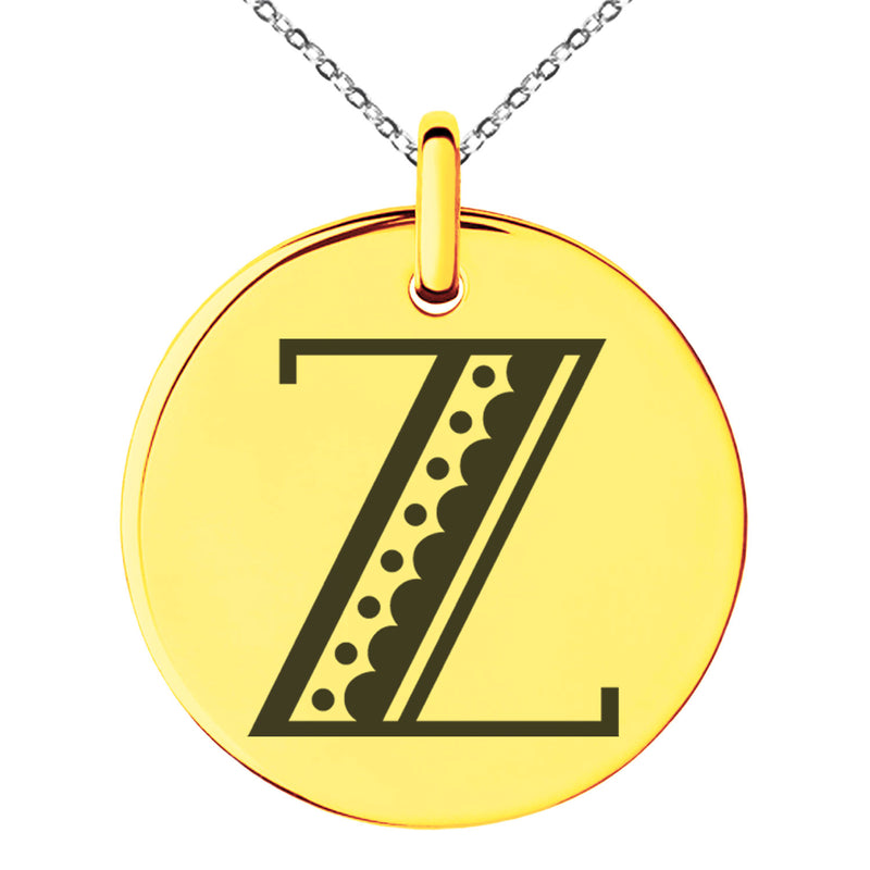Stainless Steel Letter Z Initial Metro Retro Monogram Engraved Small Medallion Circle Charm Pendant Necklace - Tioneer