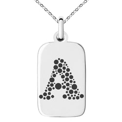 Stainless Steel Letter A Initial Dotted Monogram Engraved Small Rectangle Dog Tag Charm Pendant Necklace