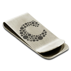 Stainless Steel Letter C Alphabet Initial Dotted Monogram Engraved Money Clip Credit Card Holder - Tioneer