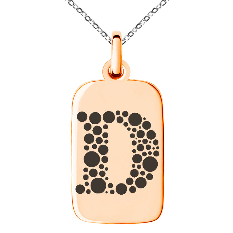 Stainless Steel Letter D Initial Dotted Monogram Engraved Small Rectangle Dog Tag Charm Pendant Necklace