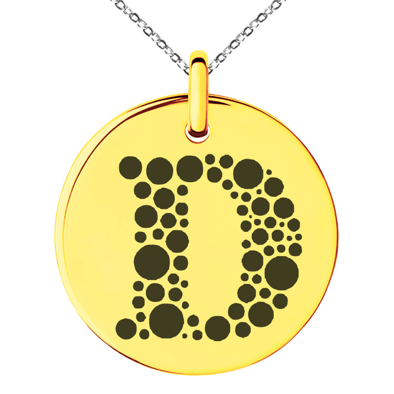Stainless Steel Letter D Initial Dotted Monogram Engraved Small Medallion Circle Charm Pendant Necklace