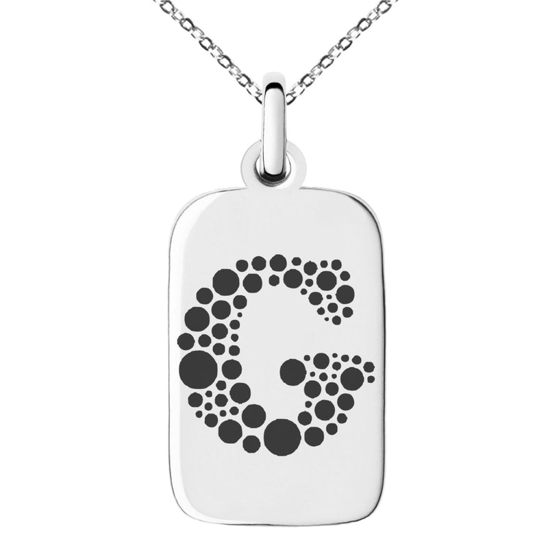 Stainless Steel Letter G Initial Dotted Monogram Engraved Small Rectangle Dog Tag Charm Pendant Necklace