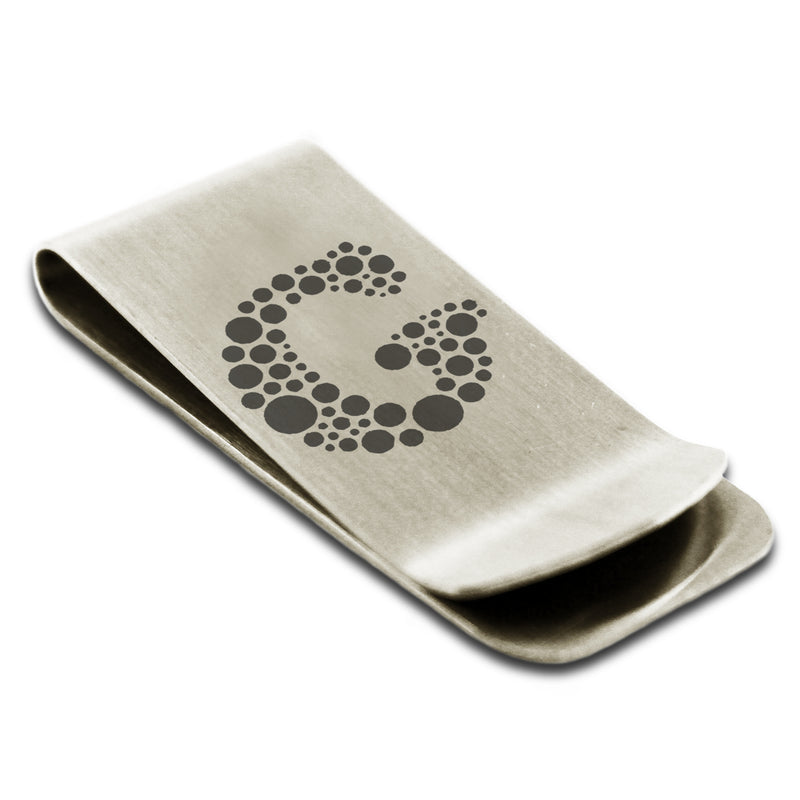Stainless Steel Letter G Alphabet Initial Dotted Monogram Engraved Money Clip Credit Card Holder - Tioneer